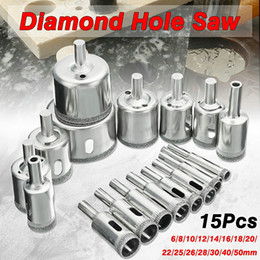 Wholesale Diamond Glass Drill Bits - DHL 20Set 15pcs set 6mm-50mm Diamond Coated Hole Saw Drill Bit Cutter Core Shaft Tool Kit for Ceramic Porcelain Glass Marble 6-50mm