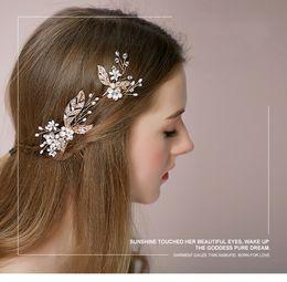 "Wholesale Lily Hair Wedding - ""day lily"" Handmade Gold Bridal Tiara Crown Headbands Hair Fascinators Wedding Bridal Hair Accessories H033"