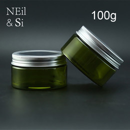 Wholesale Cosmetic Jar Packaging Glass - 100g Green Plastic Lotion Jar Refillable Cosmetic Cream Container Empty Bath Salts Packaging Bottles Light Avoid