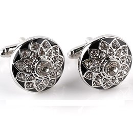Wholesale fine business - French Men Shirt Cuff Links Buttons Business Gifts Fine Jewelry Crystal Flower Shape Crystal Men Shirt Cufflinks Accessories 6