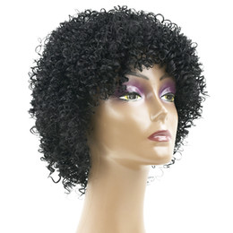 Wholesale Short Black Cosplay Wig Curly - hanzi_beauty High Temperature Fiber Synthetic Hair Short Curly Wigs Hair Headwear Accessories Cosplay Wig for Black Women