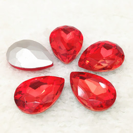 Wholesale Teardrop Base - Different Colors For Choose 18x25mm 72pcs lot color Pointback fancy Crystals Pear Drop Glass Silver Base For Garment Accessories