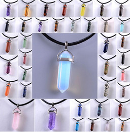 Wholesale Natural Crystal Point Pendants - Deals Hexagonal Prism Gemstone Pendant Necklace Natural Drusy Quartz Crystal Point Chakra Healing Stone Gift leather Chain necklace CC