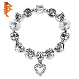 Wholesale Clear Glass For Pendants - BELAWANG 925 Silver Love Heart CZ Pendant Bracelet White Clear Murano Glass Beads Charm Bracelets&Bangles for Women DIY Jewelry Accessories