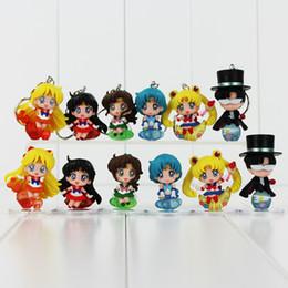 Wholesale Doll Masks - Sailor Moon Tsukino Usagi Tuxedo Mask Sailor Venus Mercury Mars Jupiter PVC Figures KeychainToys Collectible Model Dolls 6pcs set