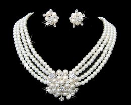 Wholesale Dress Style Jewelry - White Pearl Necklace Earrings Jewelry Set Bridal Bridesmaid Dress Accessories Crystal Jewelry Sets 2016 Discount Style