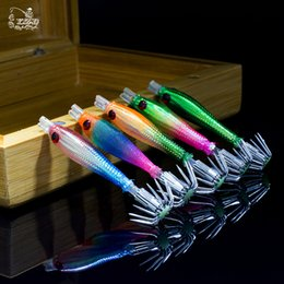 Wholesale Saltwater Soft - New 10pcs Luminous Squid Jigs Light umbrella Stainless Steel hook Fishing Cuttlefish Shrimp 1.5 Squid Octopus Bait Lure jigging