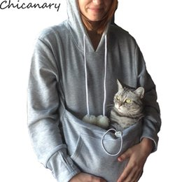 Wholesale Hoodies Ears For Women - Wholesale- Chicanary Mewgaroo Nyangaroo Cat Lovers Hoodies With Cuddle Pouch Dog Pet For Casual Kangaroo Pullovers With Ears Sweatshirt