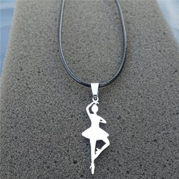 Wholesale ballet for sale - 12pcs lot New Hot Sale Fashion Women Stainless Steel Ballet Dancer Pendant Necklace Jewelry For Girls
