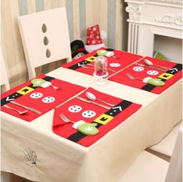 Wholesale Wholesale Dinner Party Supplies - Christmas Placemats Knife Fork Mats Xmas Table Mats Santa Claus Decoration Party Pads Dinner Dining Tablecloth Supplies Decor CCA7594 60pcs