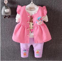 Wholesale Vest Suit T Shirt - Autumn suit 2016 Baby Kids Autumn Baby Girls Suits Infant Newborn Clothes Sets Kids Vest+T Shirt+Pants 3 Pcs Sets Children Suits0-4year old