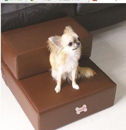 Wholesale Stairs Cover - Pu leather pet dog bed Stairs steps for small dog foldable pet dog mat steps ramp with 2-steps with detachable Cover pet product