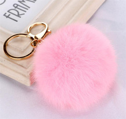 Wholesale Green Pearl Rings - 100pcs 20 colors lovely 8CM Genuine Leather Rabbit fur ball plush key chain for car key ring Bag Pendant car keychain