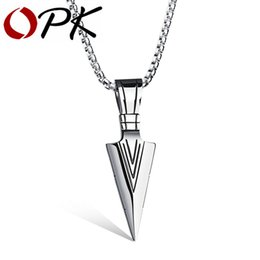 Wholesale Opk Jewelry - Wholesale-OPK Arrow Design Pendant Trendy Men Necklace With Box Link Chain 316L Steel Jewelry Accessories GX1070