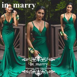 Wholesale Soft Pink Evening Dresses - Emerald Green Long Mermaid Evening Dresses 2018 Sexy Plus Size Formal Vestido de festa longo Soft Satin African Formal Prom Party Gowns