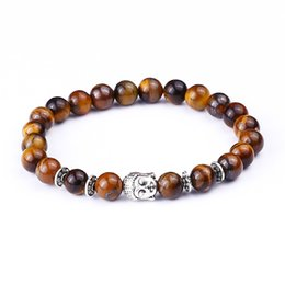 Wholesale Tiger Chain Gold Wholesale - Wholesale-Tiger Eye Beads Bracelets Shakyamuni Buddha Bangles bijoux pulseras Rope Chain Natural Stone Volcanic Bracelet Women Men Jewelry