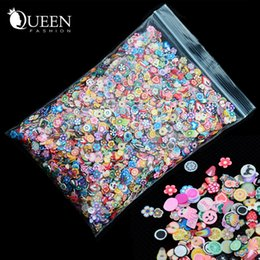 Wholesale Polymer Cane Mixed - Wholesale- 1pack 5mm Polymer Clay 3d Nail Art Decoration Mix Flowers Feather Fruit Fimo Cane For DIY Acrylic Nail Phone Supplies