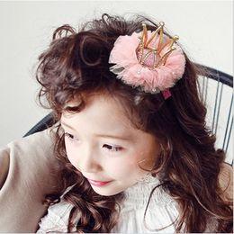 Wholesale Slide Hair Barrettes - Hair Slides Children Kids Crystal Crown Tulle Barrettes Childrens Accessories 2016 Girl Baby Hair Hairclips K7555