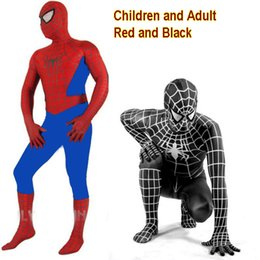 Wholesale Halloween Zentai Costumes - New 2016 Spider-Man Black Venom Kids Adult Superhero Lycra Spiderman Hero Zentai Halloween Costume With Mask
