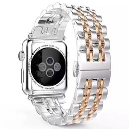 Wholesale Black Metal Strap Watches - New Recommend Stainless Steel Watch Strap for Apple Watch 7Beads Stainless Steel Band With Adapter Metal Connector For iWatch 38mm 42mm