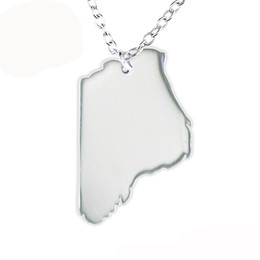 Wholesale Western Necklaces - 10pcs lot Blank Western Australia Map Stainless Steel Dangle Pendant Necklace Fashion Jewelry For Travel Souvenir Or Gift
