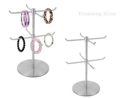 Wholesale Necklace Stand Holders Hooks - Double Layer Stainless Steel Bracelet Display Holder Necklace scarf Display Stand Holder scarves hook stand Jewelry holder rack
