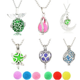 """Wholesale Stainless Ball Chains - Aromatherapy Essential Oil Diffuser Necklace Stainless Steel Hollow Moon Locket Pendant with 20"""" Chain + 6 Felt Ball"""