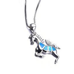 Wholesale Opal Sterling - Women Blue Opal Horse Necklace 2017 New Fashion Animal Wedding Jewelry 925 Sterling Silver Filled Necklaces Pendants Gift