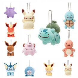 Wholesale Jolteon Stuffed Animal - 8-10cm poke doll Pikachu Charmander Squirtle Bulbasaur Clefairy Gengar Eevee Raichu Jolteon Ditto Metamon Keychain Plush Doll Stuffed Toy