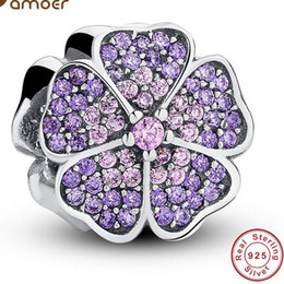 Wholesale Real Leaf Clover Charm - Real 100% 925 Sterling Silver Leaf Clover Rhinestone Charm Bead Fit European Bracelet Authentic Luxury DIY Jewelry Gift