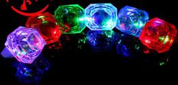 Wholesale Diamond Led Grow - Fashion Multi Color Large Diamond Flashing Finger Ring Led Light Up Kids Growing Ring Wedding Party Favors Toys