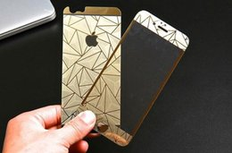 Wholesale Iphone Colored Mirror Screen Protector - For Iphone6 6plus 4 5 Titaniam Alloy 9H Front+Back Tempered Glass Screen Protector Colored 3D Diamonds 0.26mm Anti-scrach With Package