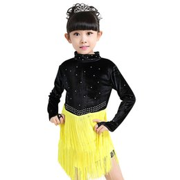 Wholesale Tassel Dance Dresses For Kids - Newest Girls Latin Dance Dress Comfortable Dancing Clothing Tassel Dancewear Kids Elegant Performance Costume Dresses for Girls UD0109