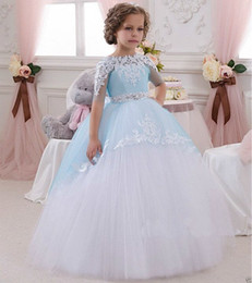 Wholesale Toddler Fur Dresses - 2016 NEW Baby Princess Flower Girl Dress Lace Appliques Wedding Prom Ball Gowns Birthday Communion Toddler Kids TuTu Dress