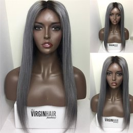 Wholesale Straight Lace Front Two Tone - Virgin Peruvian #1B Grey Two Tone Glueless Full Lace Human Hair Wigs Ombre 1B Grey Lace Front Wigs Bleached Knots Full Density