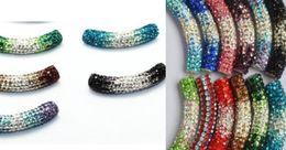 Wholesale Long Tube Bending - 30 pcs lot 45cm mixed multicolor Rhinestone Micro Pave CZ Crystal gradual change shamballa tube Long tubes bending beads Bracelets Findings.