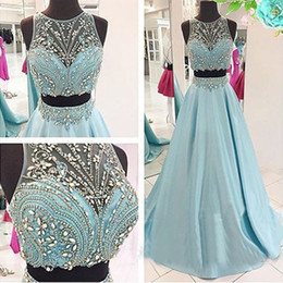Wholesale Modern Cotton Dresses - 2017 New Crystals Beaded Two Piece Prom Dresses Long Elegant A Line Crew Neck Formal Dresses Evening Party Gowns