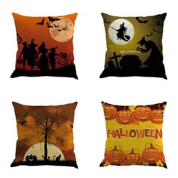 Wholesale Witch Decor - Witch Halloween Pillowcase Decoration Throw Pillow Case Pumpkin Gift Car Room Home Decor Square Cushion Cover Sofa Decorative Ornament