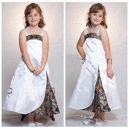 Wholesale Wedding Dresses For Cheap Online - Spaghetti A-Line Camo Flower Girls Dresses Ankle Length Custom Online Formal Kids Wear For Wedding Party Cheap Sale Camouflage Outside Fit