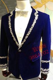 Decorazioni in tuxedo online-mens blu strass perline cucito colletto decorazione giacca smoking tuxedo / party / performance sul palco / questa è solo la giacca