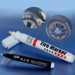 Wholesale Rubber Marker - 2Sets White Color Car Tire Pens Motorcycle Auto Waterproof Tyre Tire Care Tread Rubber Paint Marker Car Styling