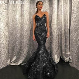 Wholesale Cheap Dark Navy Satin Dresses - Bling Sequined Meramid Black Prom Dresses 2016 New Sexy Sweetheart Floor Length Dubai Women Evening Gowns Formal Party Dresses Cheap Sale