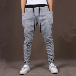 Wholesale Crotch Man - 8 Colors Unique Pocket Mens Joggers Cargo Men drop crotch pants Baggy Sweatpants Harem Pants Men Jogging Sport Pants Men Pantalones Hombre