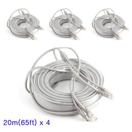 Wholesale Dc Lan - 4 Pcs 20M 66ft CCTV Ethernet Cable RJ45 + DC 12V Power CAT5 5e Extension CCTV Network Lan Cable For IP Camera NVR System