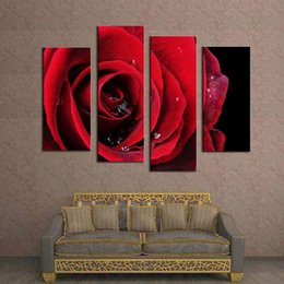Wholesale Big Beautiful Homes - 4 Pieces Canvas Paintings Flower Paintings Beautiful Big Red Rose Flower Wall Art Hanging Decor Art for Home Decoration Hotel Bedroom