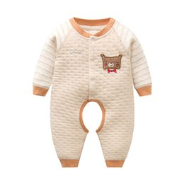 Wholesale Baby Open Crotch Pants - New Born Baby Cotton Rompers Cartoon Bear Air Layer Open-crotch Pants Jumpsuits Long Sleeve Baby Clothes One-piece Romper