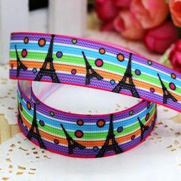 "Wholesale Chevron Items - 7 8"" 22mm Colorful Chevron Eiffel Tower Printed Grosgrain Ribbon Children DIY Item Bow Decos DIY Accessories 50 100Y A2-22-2107"