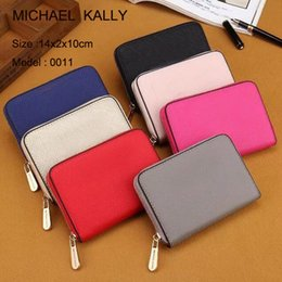 Wholesale Womens Purse Wallets Branded - High quality AAA MICHAE KALLY womens wallets and purses famous brand short single zipper pu Leather wallet 0011 purse
