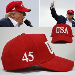 Wholesale Usa 3d - Comfortable USA Baseball Hats Durable Trump Nitrile Peaked Cap 3D Stereo Embroidery Adult Hat For Outdoor Sport Riding B R