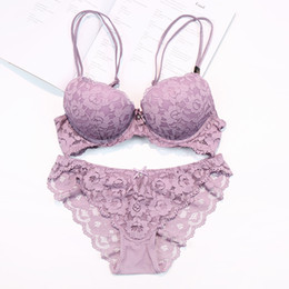 Wholesale transparent black lace panties - 2016 new brand embroidery push up women bra set full lace transparent thick thin sexy bra and panties sets flowers lingerie